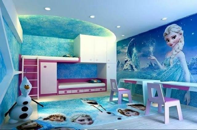 Kamar Tidur Anak Perempuan Dengan Desain Karakter Film Frozen